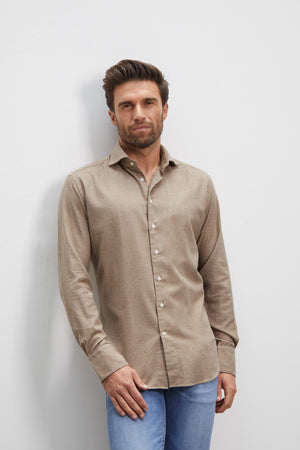 Classic Fit Flanell Beige