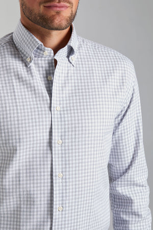 Classic Fit Grey Check Flannel