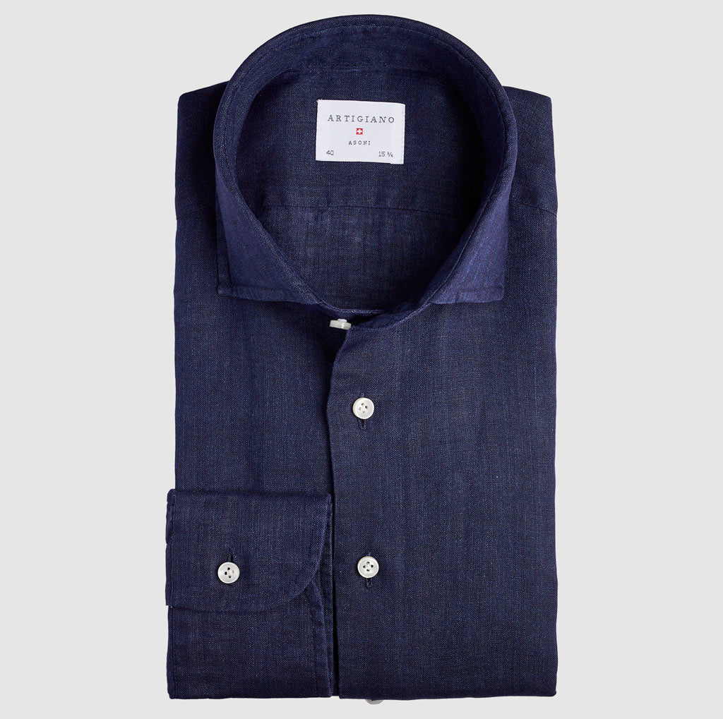 Classic Fit Navy Linen