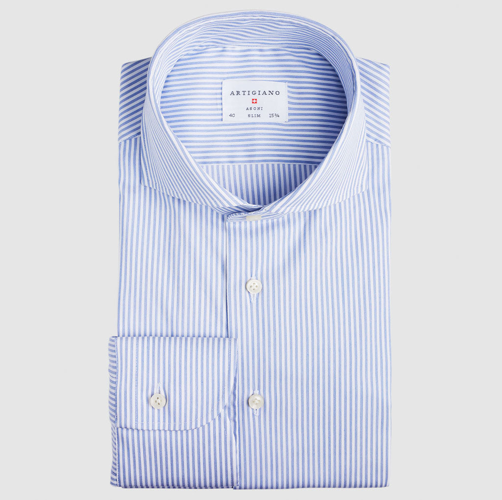 Slim Fit Blue Stripe Stretch
