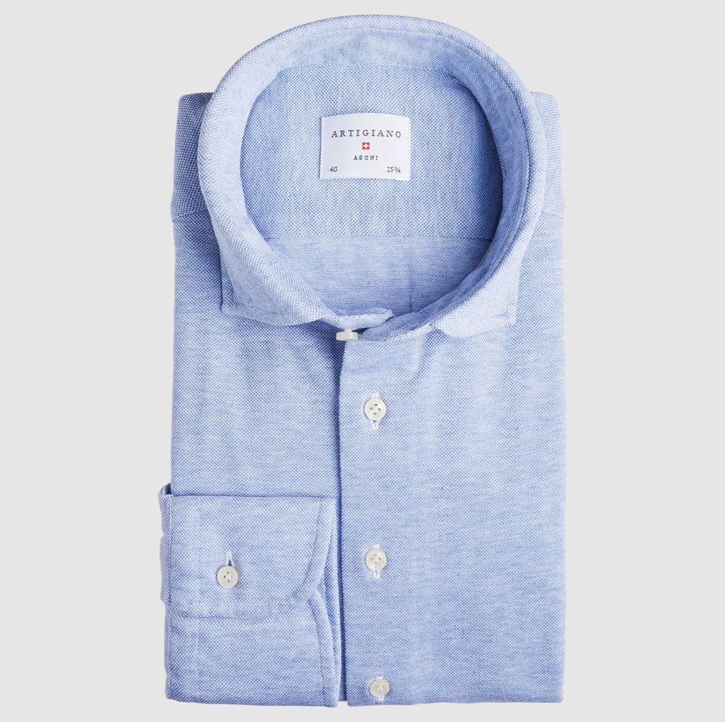 Slim Fit Light Blue Knitted Shirt