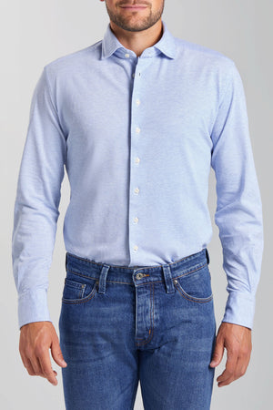 Slim Fit Light Blue Melange Knitted Shirt