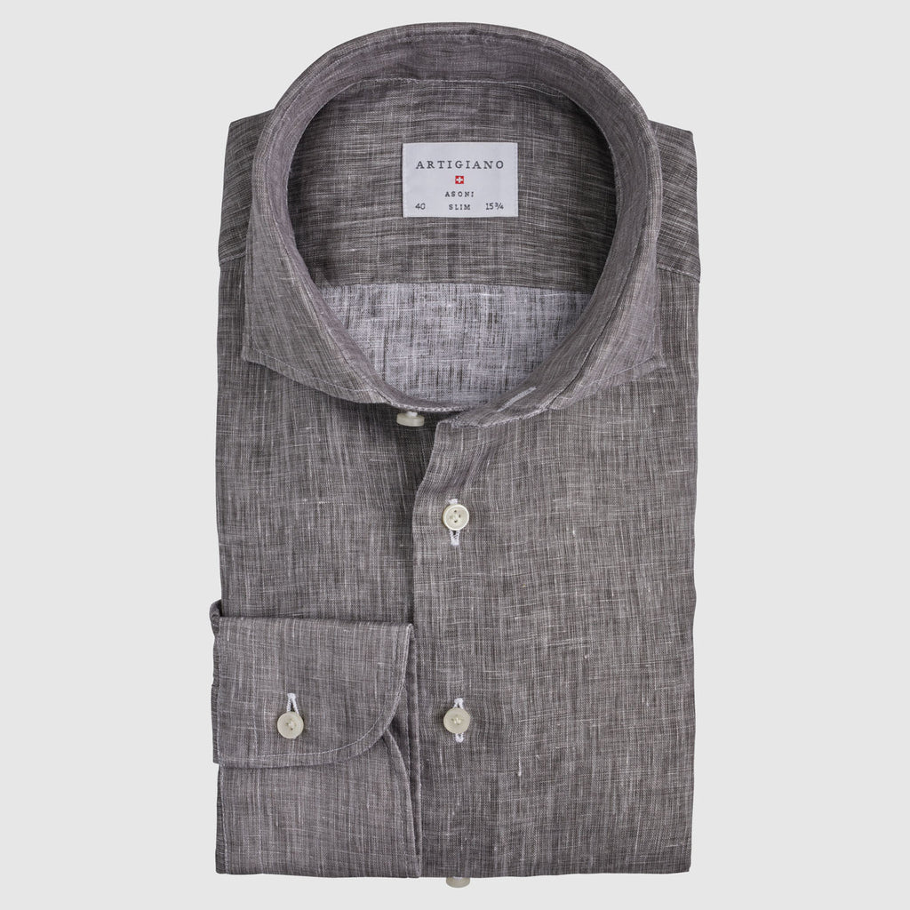 Slim Fit Brown Linen
