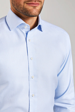 Slim Fit Light Blue Check Pepita