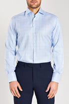 Slim Fit Light Blue Check
