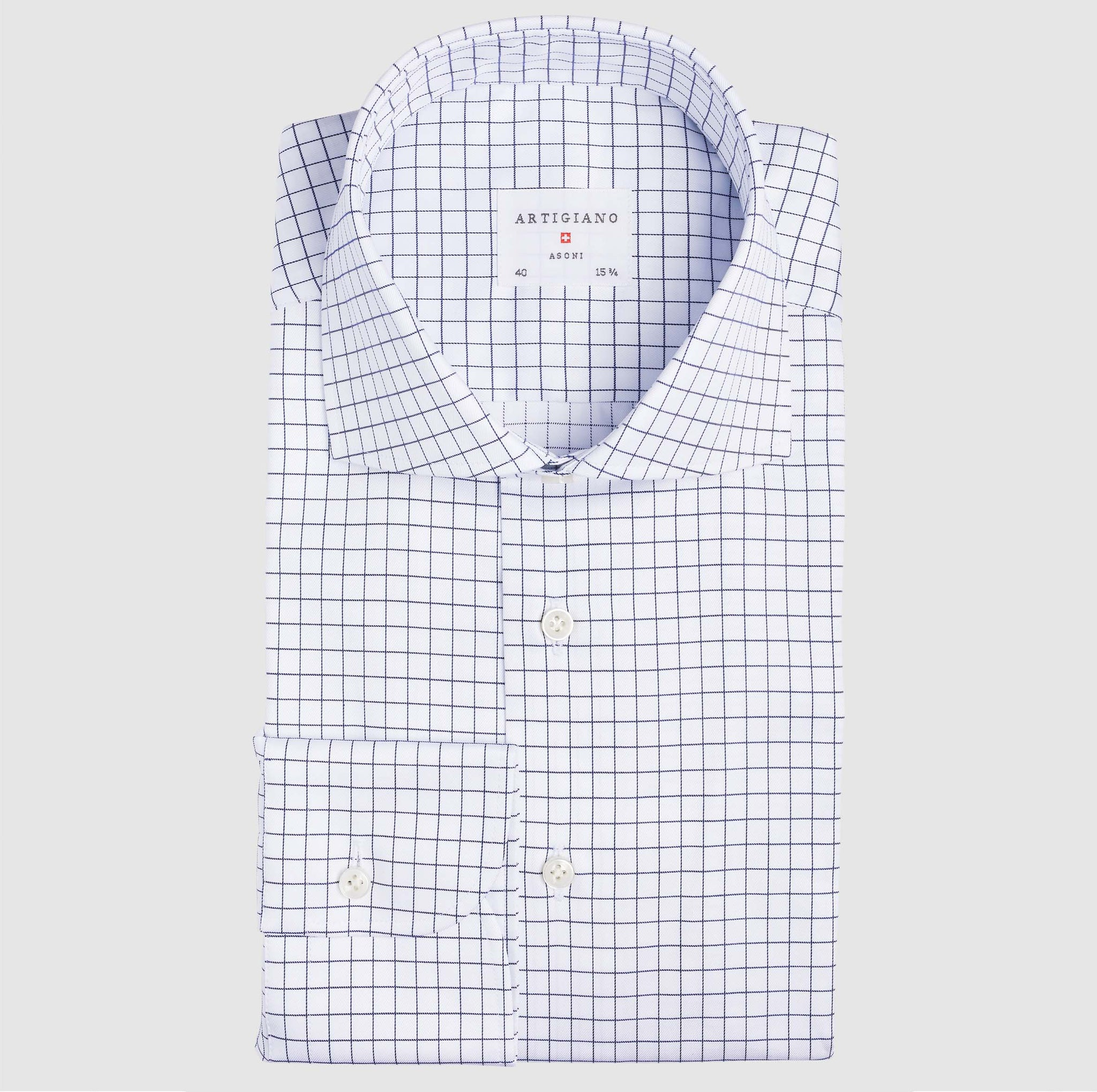 Classic Fit Navy Check Twill