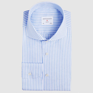 Classic Fit Light Blue Stripe Cotton Linen