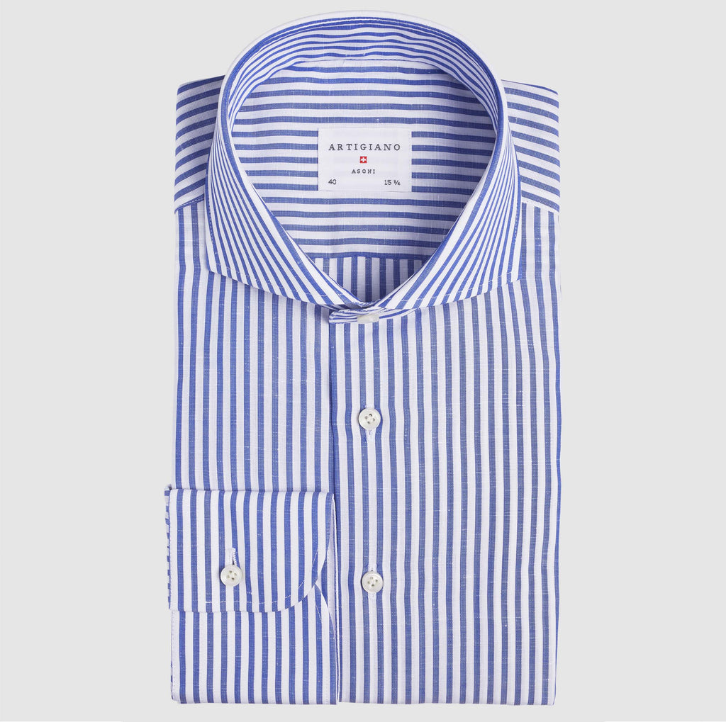 Classic Fit Blue Stripe Cotton Linen