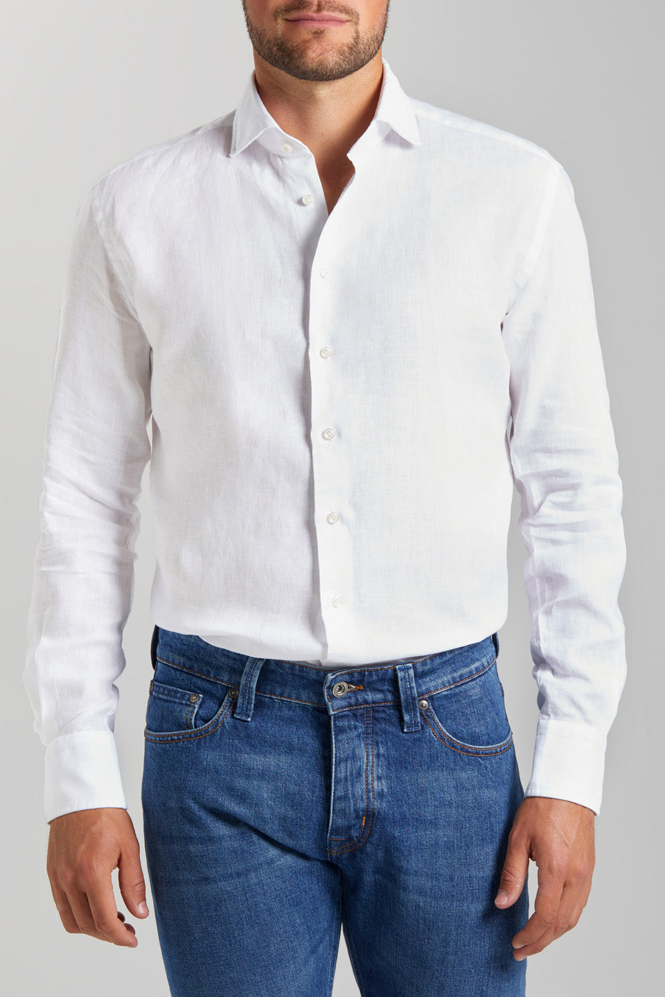 Classic Fit White Linen