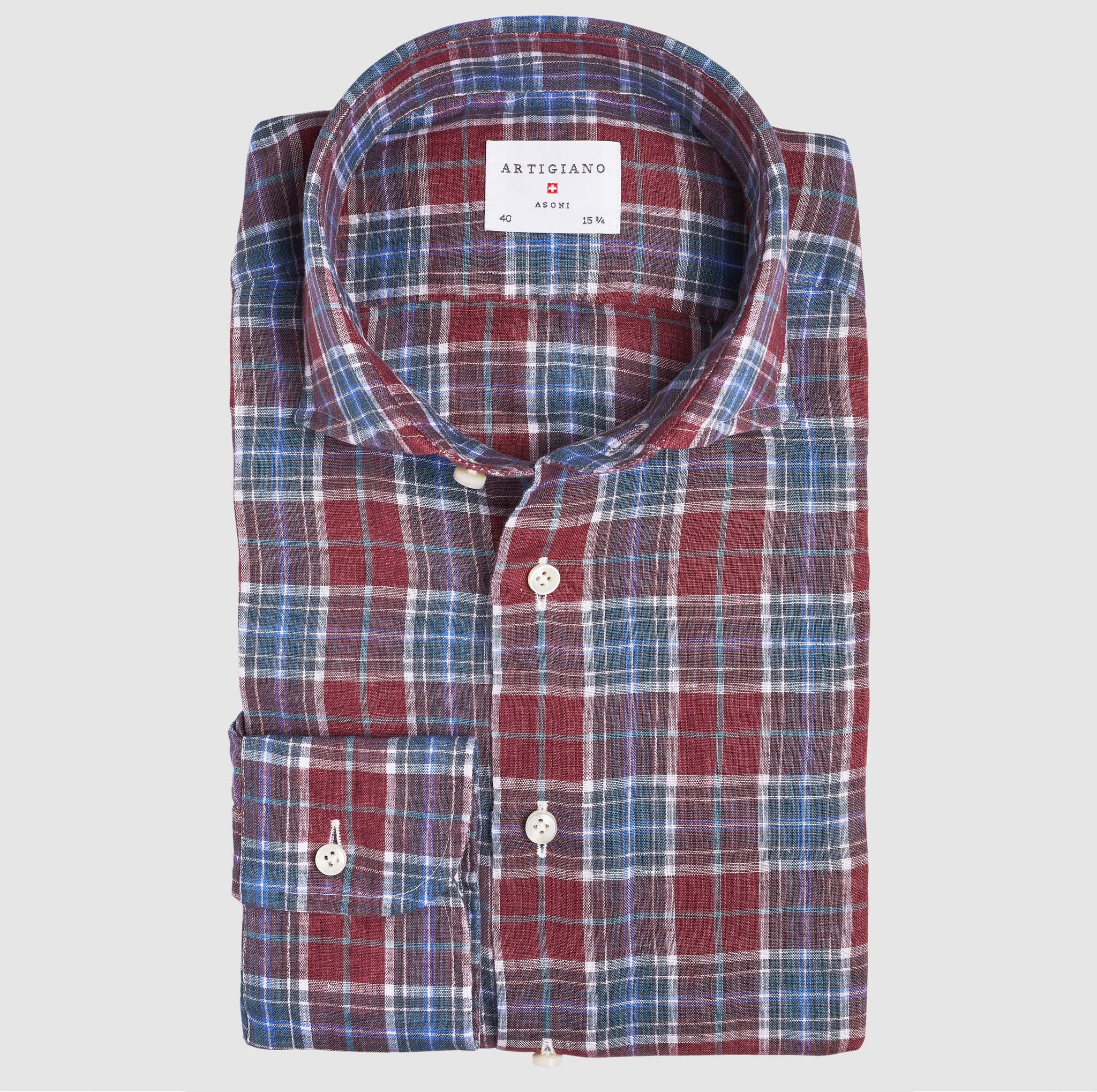 Casual Wide Spread Classic Fit Red Check Linen