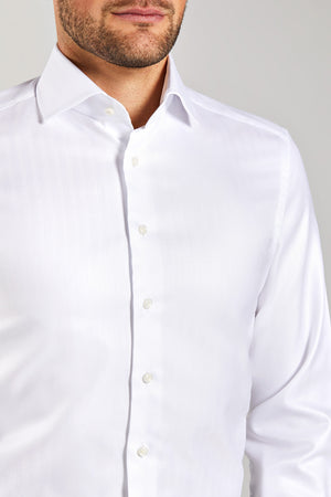 Slim Fit White Herringbone