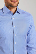 Slim Fit Blue Stripe Poplin