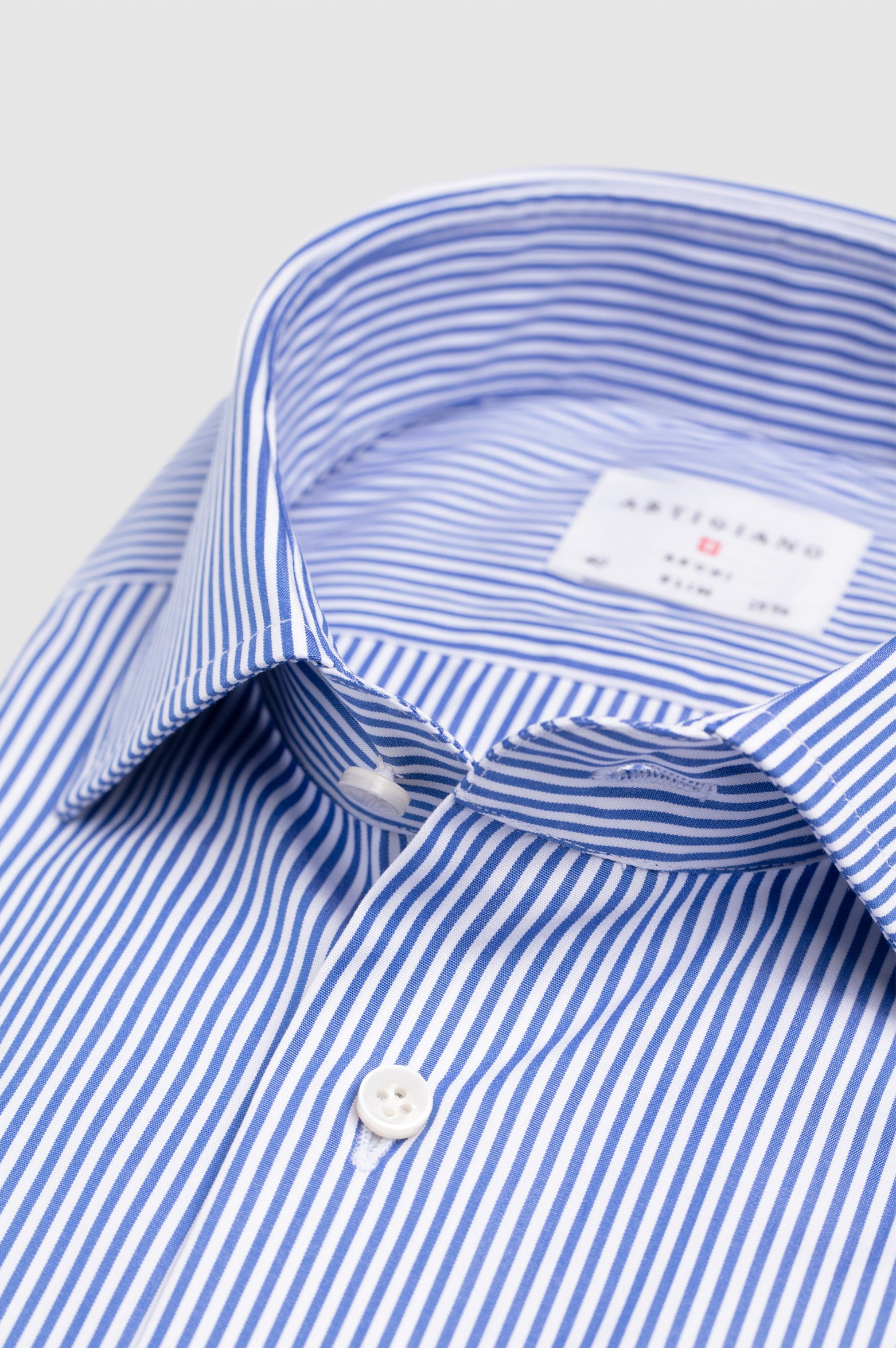 Casual Wide Spread Slim Fit Blue Stripe Poplin