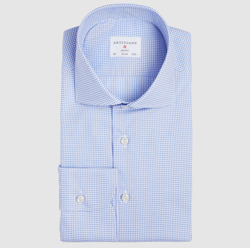 Slim Fit Blue Check Wrinkle Free