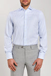 Slim Fit Light Blue Stripe Poplin