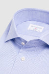 Slim Fit Light Blue Print Poplin