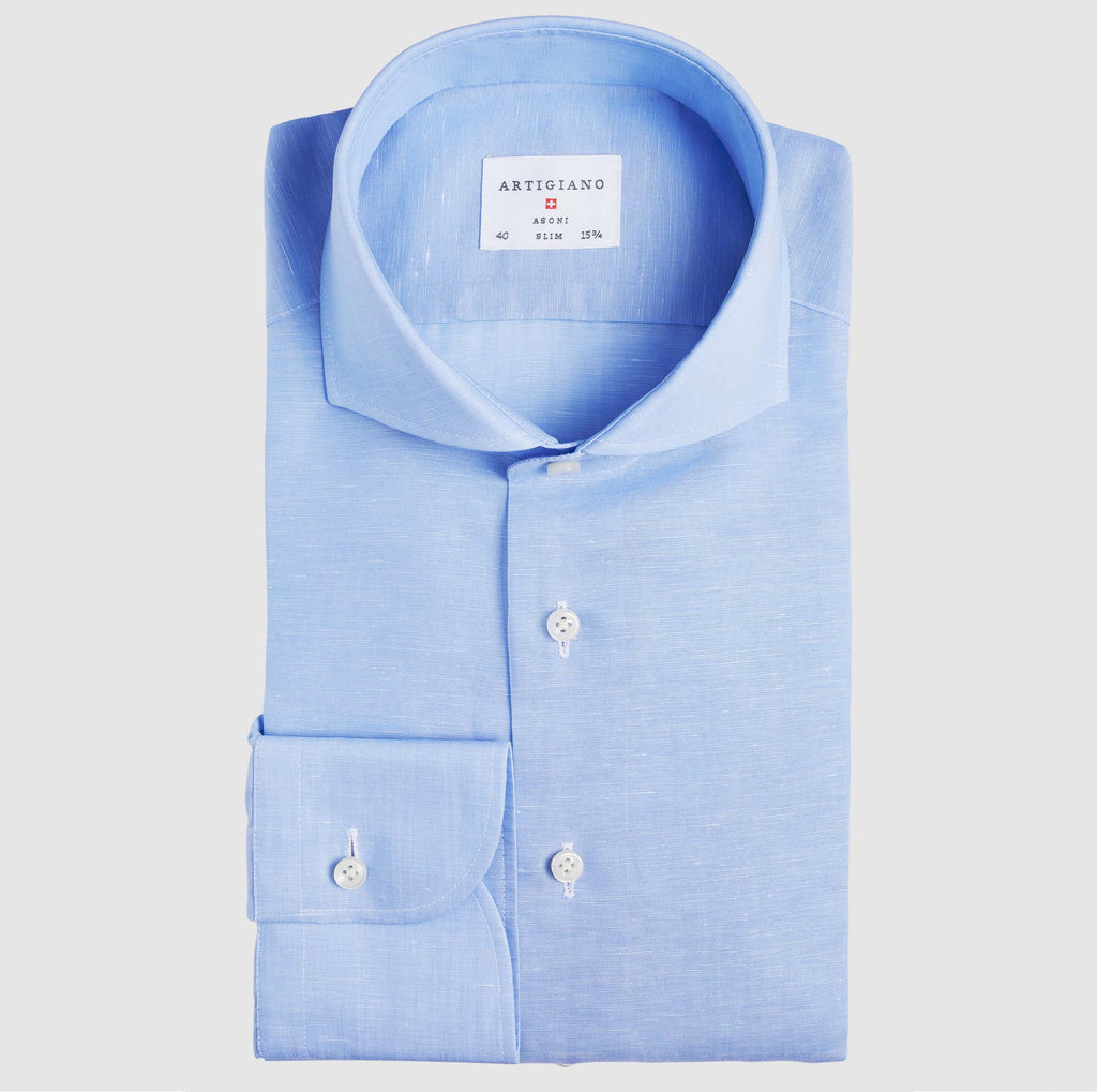 Slim Fit Light Blue Cotton Linen