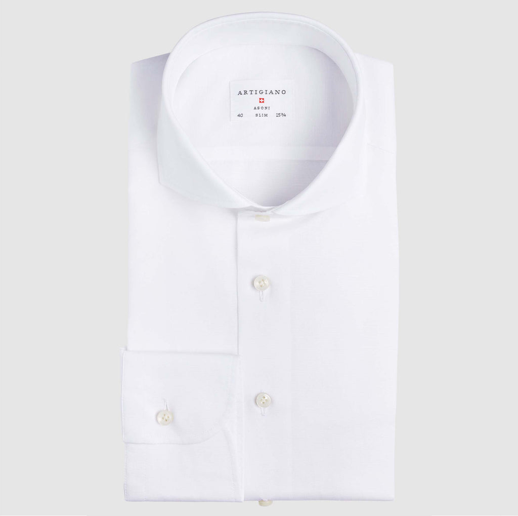 Slim Fit White Cotton Linen