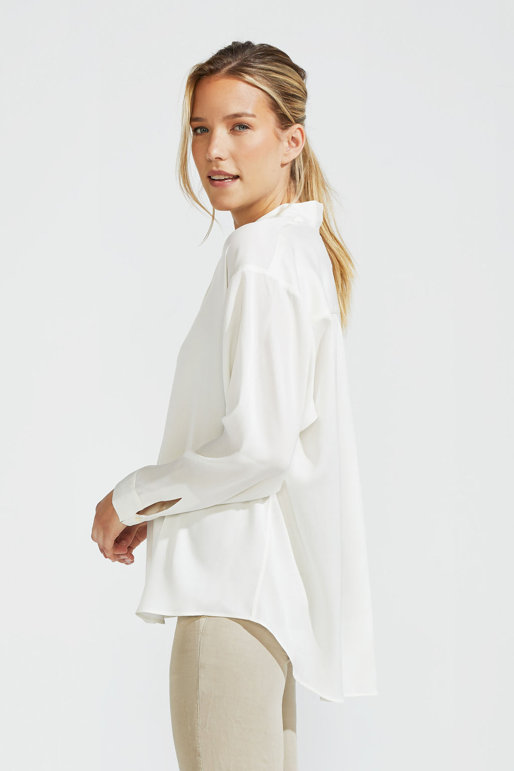 Oversize Silk Stretch Blouse