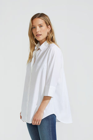 Long Cotton Stretch Blouse
