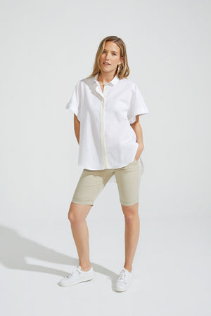 Short Sleeve Blouse Cotton Linen