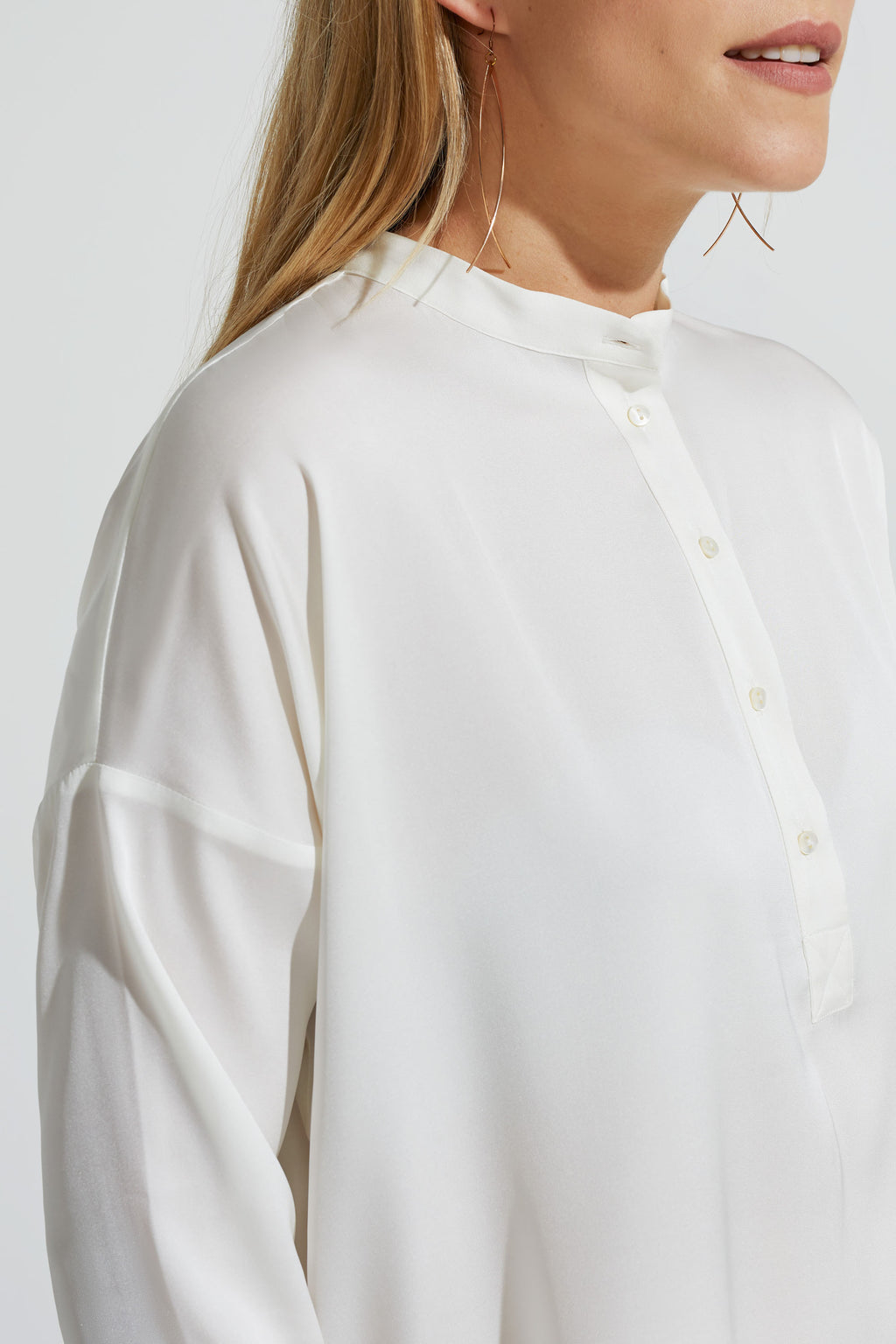 Pop Over Silk Blouse