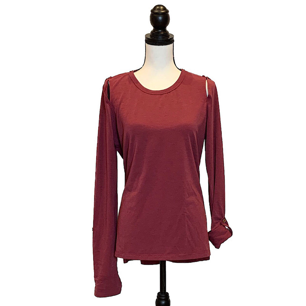 UPF Cold Shoulder Top with Button - AMBERNOON