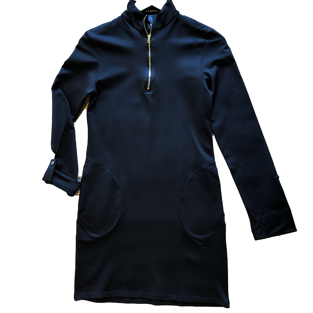 UPF Half Zip Mock Dress with Pockets - AMBERNOON