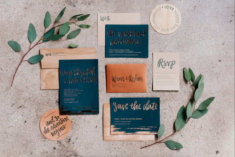 Copper Foil Wedding Invitations printed on emerald paper, with wood accents