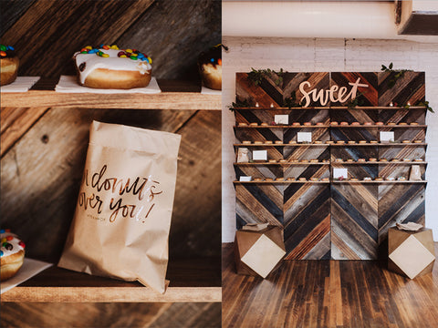 Donut Wall + Foil Printed Donut Bags - Wedding Dessert Inspiration