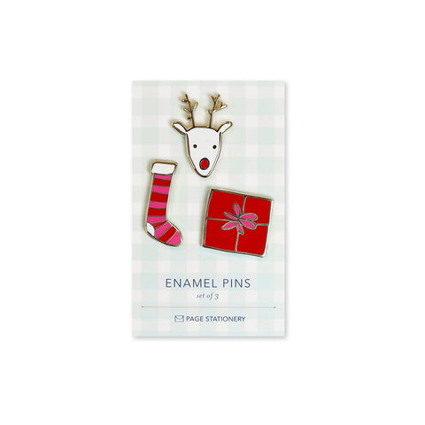 Rudolph, Stocking, Gift | Enamel Pin Set