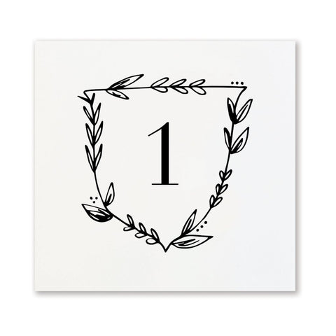 Black + White Floral Table Numbers | No. 1-12