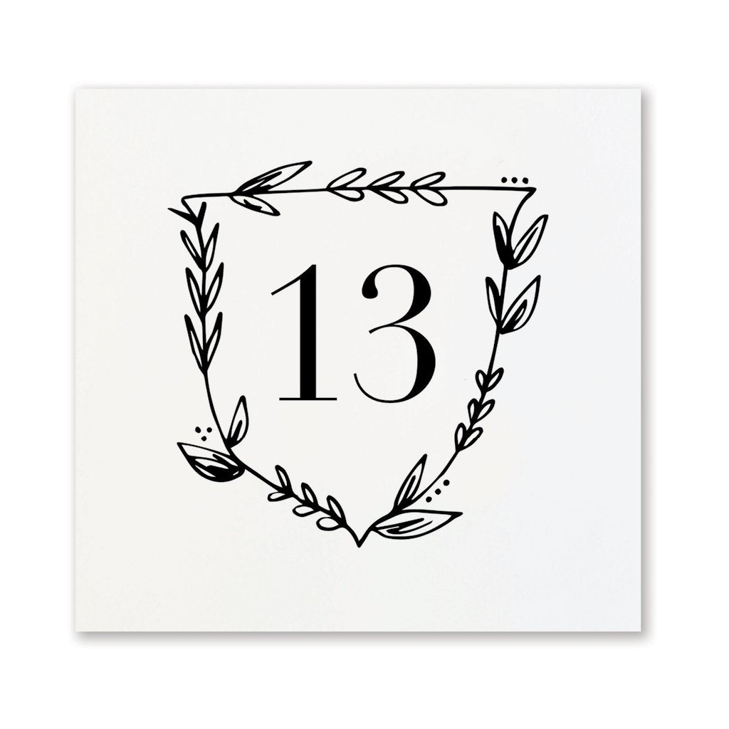 Black + White Floral Table Numbers | No. 13-24