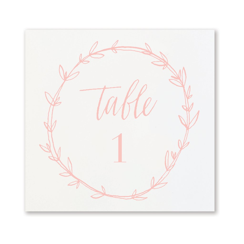 Blush Wreath Table Numbers | No. 1-12