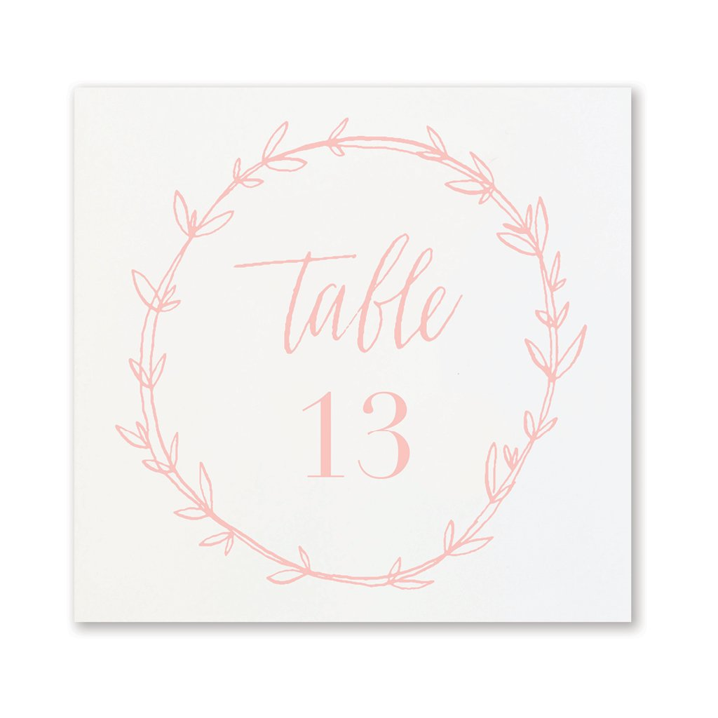 Blush Wreath Table Numbers | No. 13-24