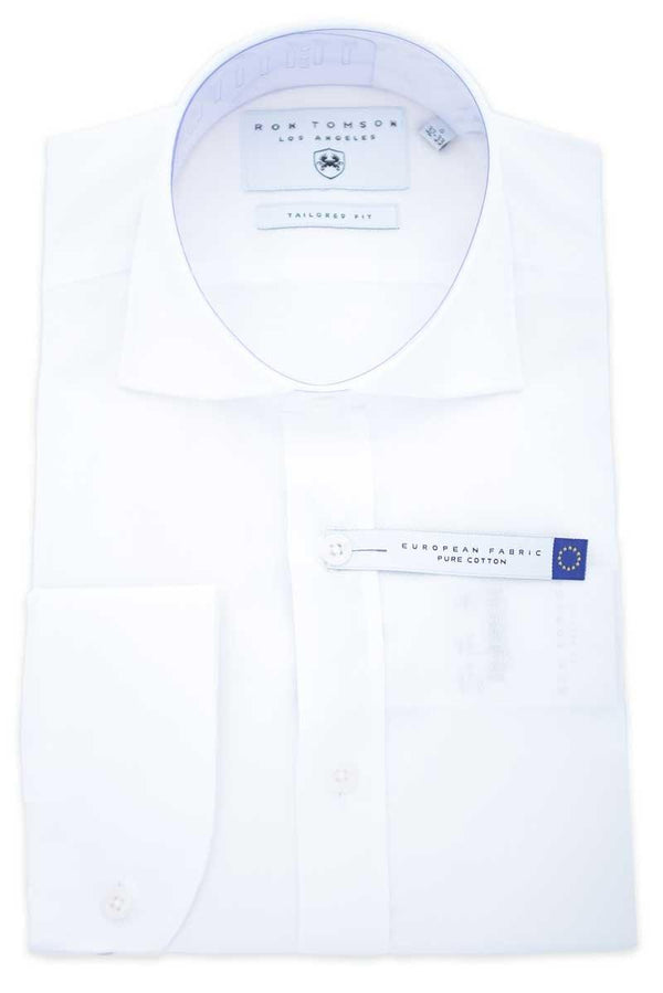 Spread Collar Diamond Pattern Shirt - White - Ron Tomson