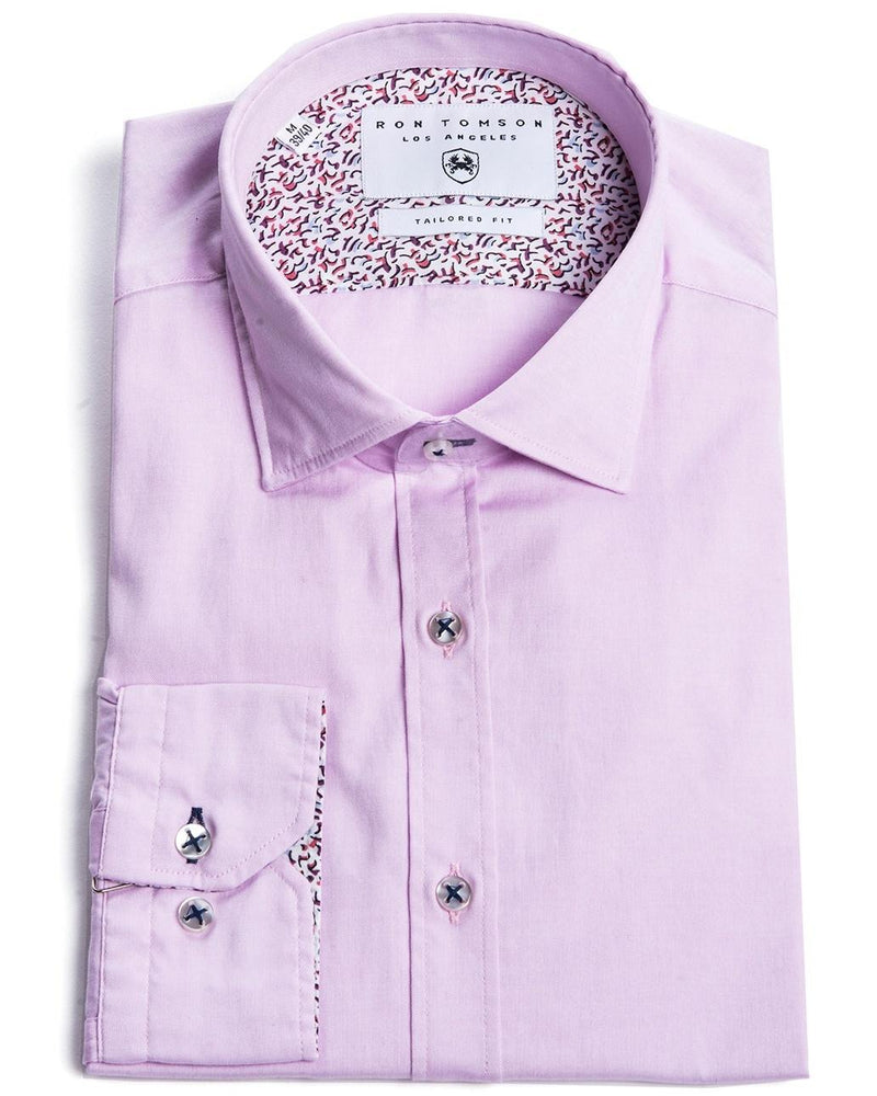 Contrast Slim Fit Spread Collar Shirt - Purple - Ron Tomson