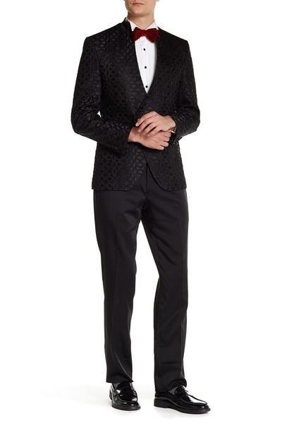 Stand Collar Symmetric Wrap Tuxedo - Black - Ron Tomson