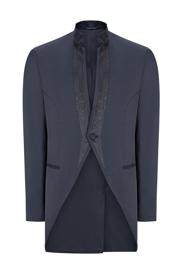 Mao Collar Fitted Trim Tuxedo - Navy - Ron Tomson