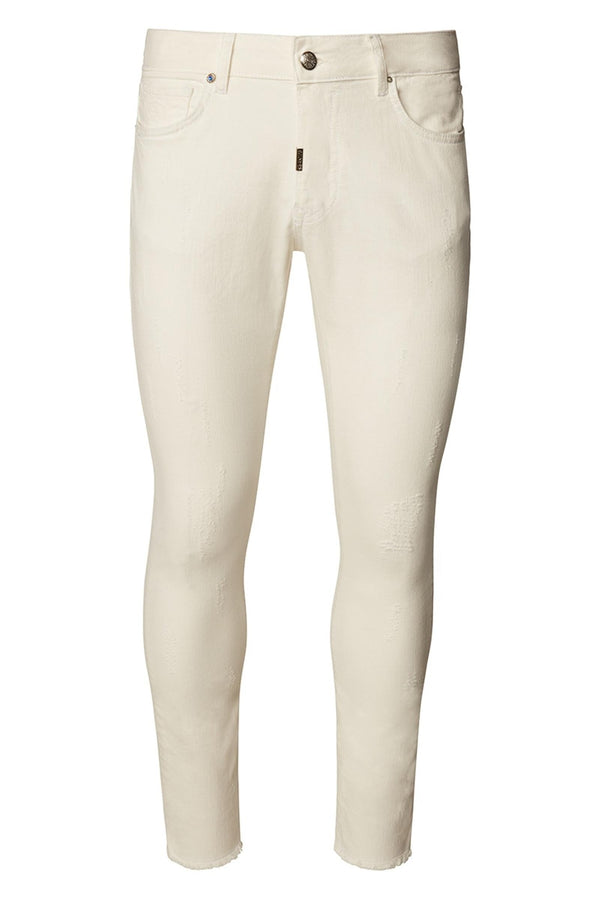 Distressed Ripped Hem Skinny Jeans - White - Ron Tomson