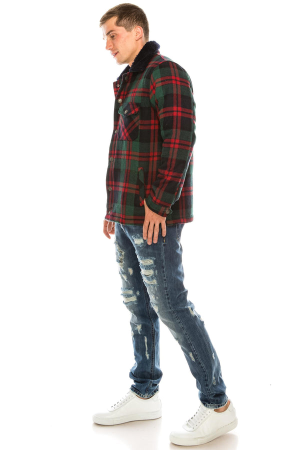 Lumberjack Jacket With Teddy Lining - GREEN RED - Ron Tomson