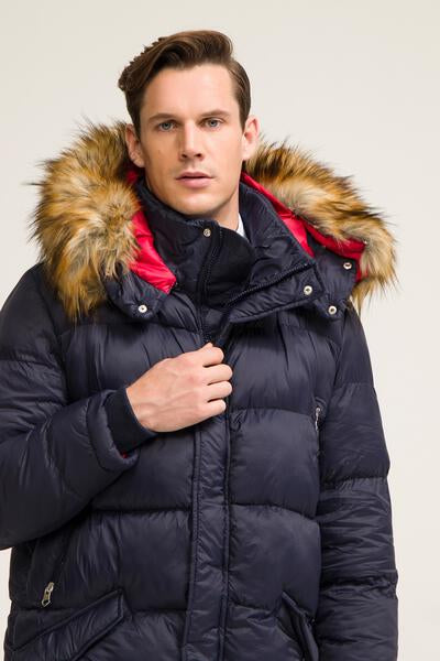 faux fur-trim long quilted parka - NAVY