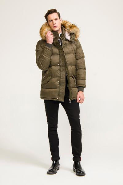 faux fur-trim long quilted parka -KHAKI