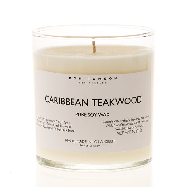 Pure Soy Wax Candle - Caribbean Teakwood - Ron Tomson