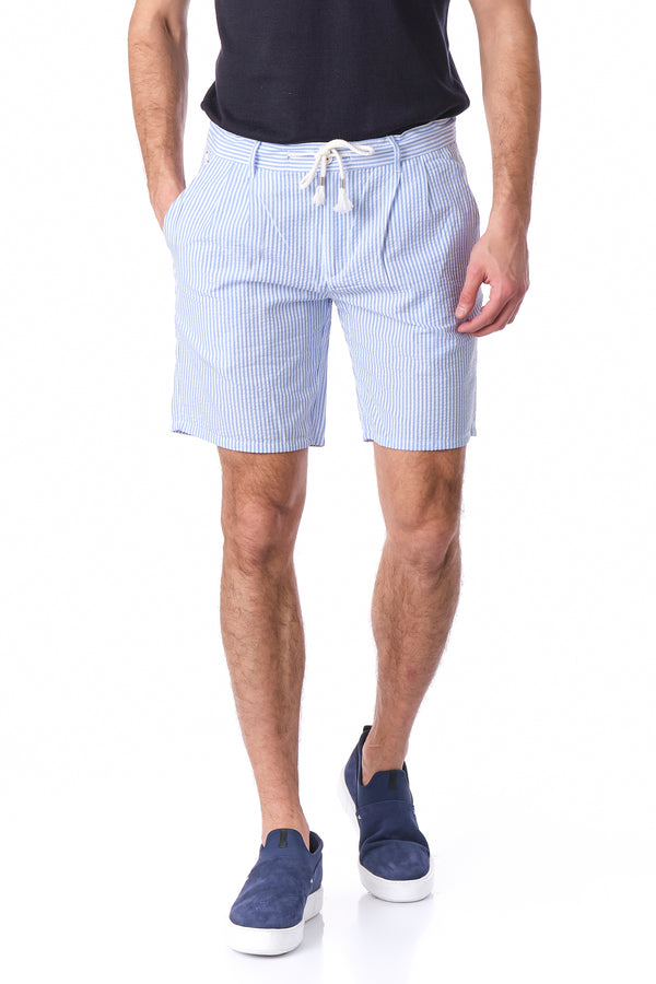 WAFFLE LINEN DRAWSTRING SHORTS - BLUE - Ron Tomson