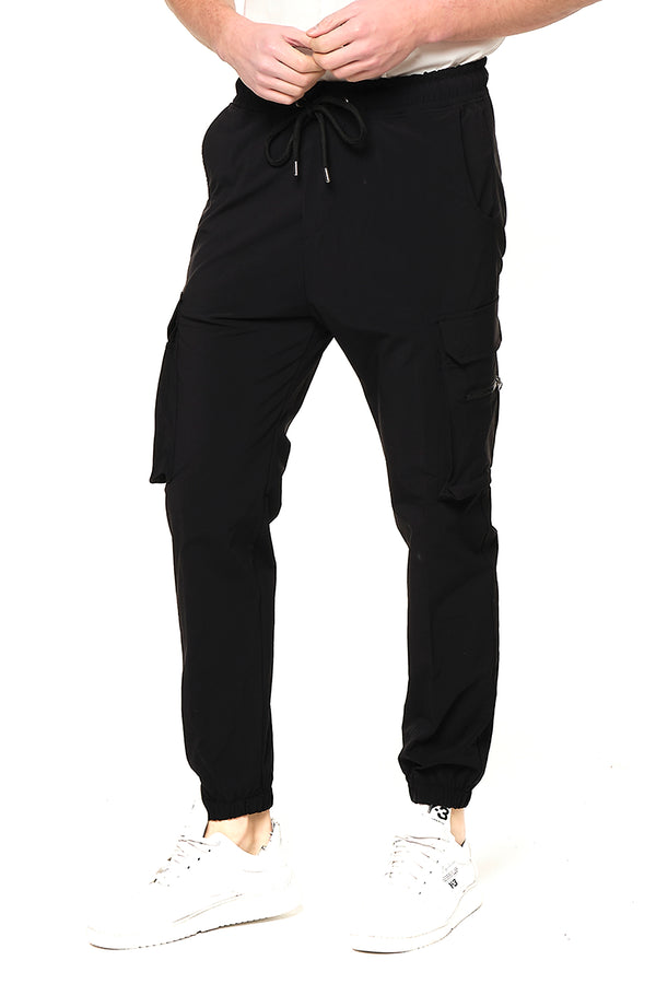 Side Zip-Pocket Track Pants - Black
