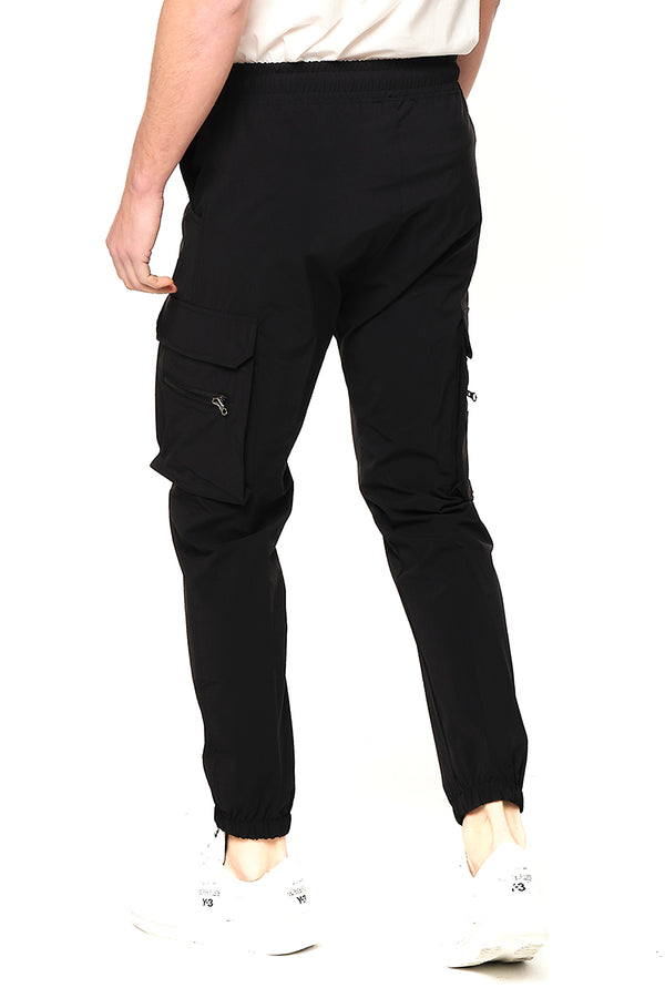 Side Zip-Pocket Track Pants - Black - Ron Tomson