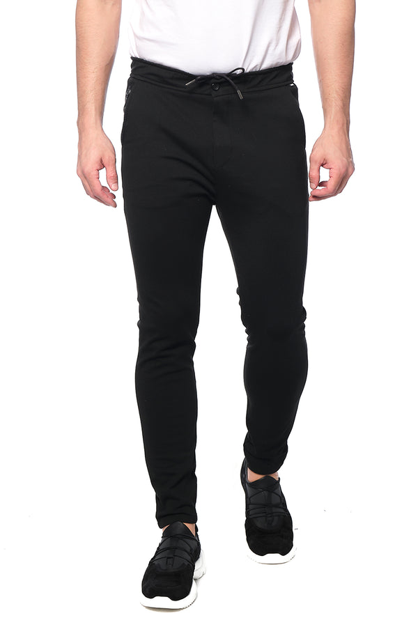 COTTON BLEND KNIT SWEATPANTS -  JET BLACK - Ron Tomson