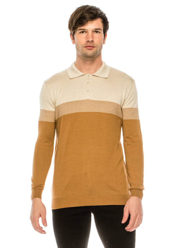 The Geometrical Knit Polo LS - CAMEL STONE - Ron Tomson