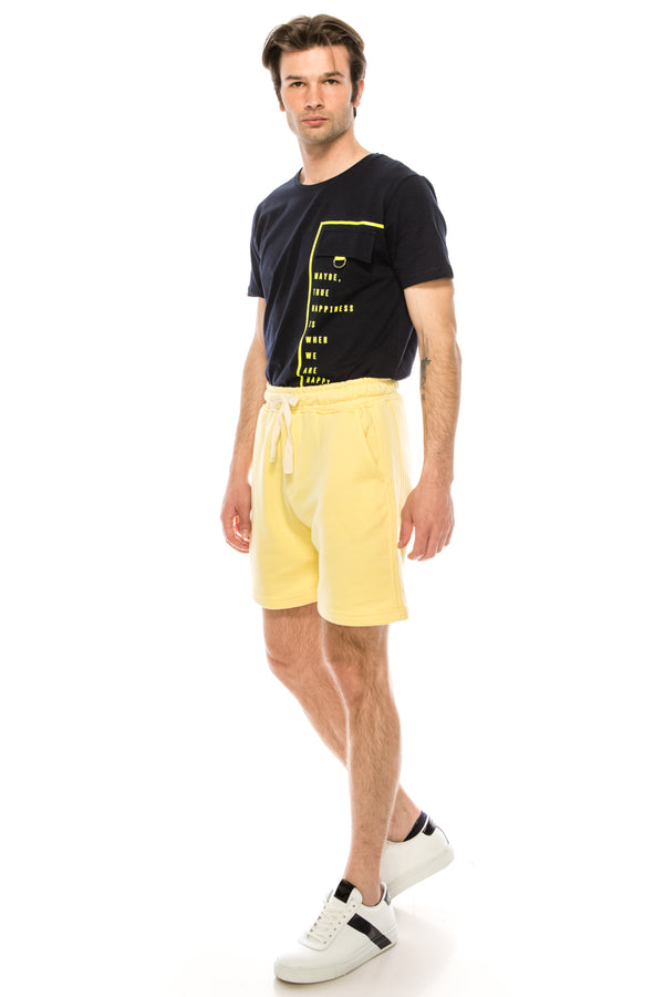 Weekender Cotton Shorts - LIGHT YELLOW - Ron Tomson